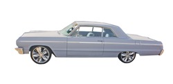 light blue classic muscle car on white