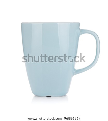 Light blue coffee cup. Isolated on white background