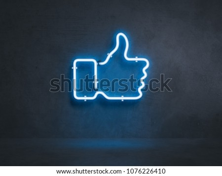 Light blue electrical thumb up symbol on black wall, 3d rendering