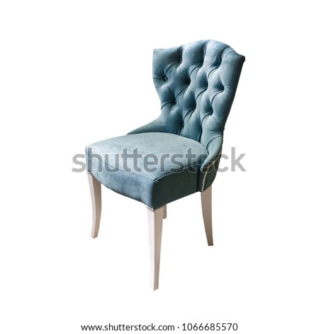 light blue fabric chair in chester style for elite loft interior isolated white background #1066685570