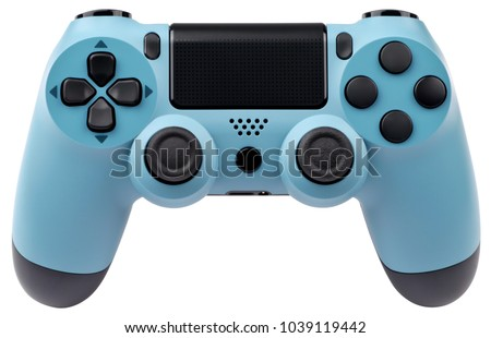 Light blue gaming controller isolated on white background. - Shutterstock ID 1039119442