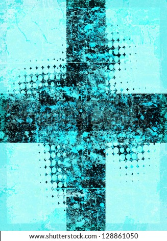 Light blue grunge cross with halftone pattern