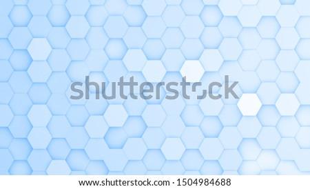 Light blue hexagonal grid in a random pattern. 3D computer generated image.