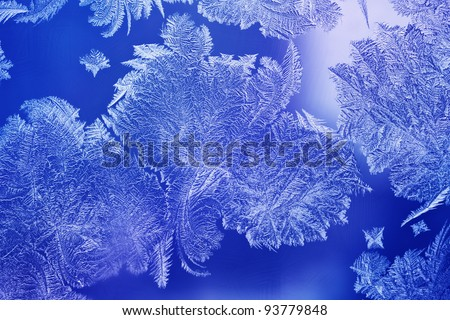 Light blue Ice flower frosting on a window
