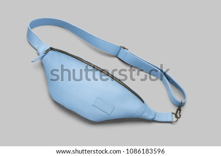 Light blue leather waist bag #1086183596