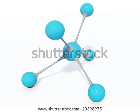 Light blue molecule isolated on white