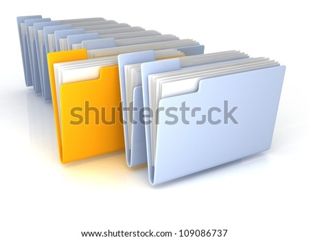 Light Blue open folders and one yellow with documents