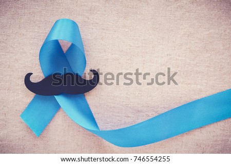 Light blue ribbons with mustache , Prostate Cancer Awareness, Men health awareness