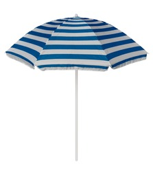 Light-blue striped beach umbrella isolated on white. Clipping path included.
