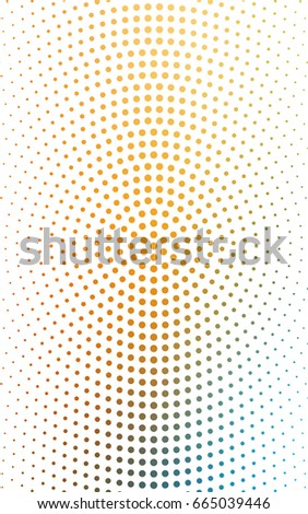 Light Blue, Yellow illustration which consist of circles. Dotted gradient design for your business. Creative geometric background in halftone style with colored spots.