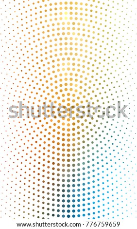 Light Blue, Yellow pattern of geometric circle shapes. Colorful mosaic banner. Geometric background with colored disks.