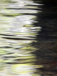 Light blurred abstract water background formed from white and green reflections and movement in a deep river with rocks visible on the river bed to the right
