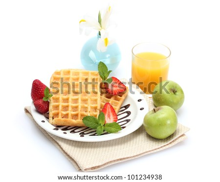 light breakfast isolated on white