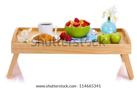 light breakfast on wooden tray isolated on white - stock photo