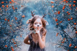 light brown dress, a baby deer playfull. faun keeps the secret and hides in the berry bushes, decoration winter cold colors. Halloween party image, Christmas celebration. Art childhood photography