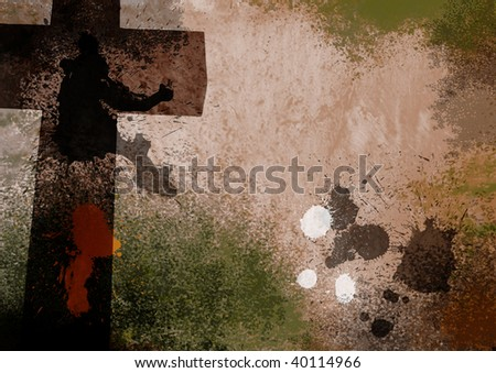 Light Brown Grunge Christian Cross Background