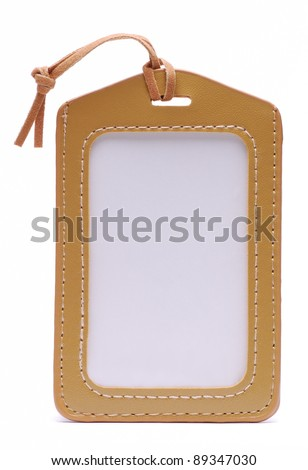 Light Brown Leather Name Tag