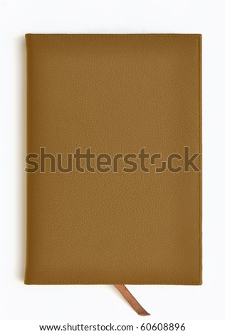 Light brown leather notebook on white background