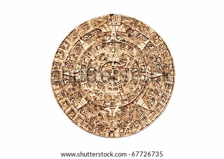 Light brown Maya calendar isolated on white background