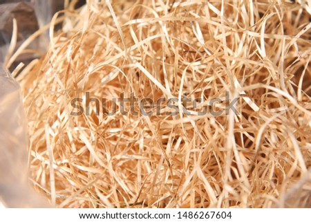 Light brown wood wool; Packaging material; Filling material; natural material for decoration #1486267604