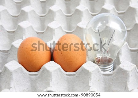 Light bulb and eggs in Cardboard containers
