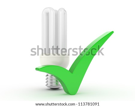 "light bulb and  ""ok"" sign on a white background"
