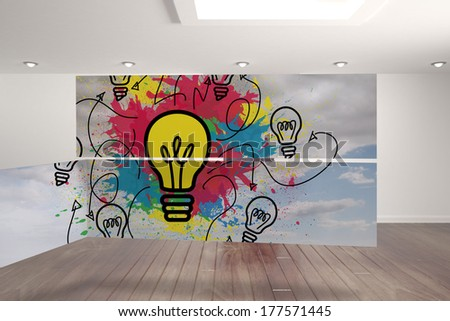 Light bulb and paint splashes on abstract screen against digitally generated room with stairs