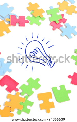 Light bulb and puzzle