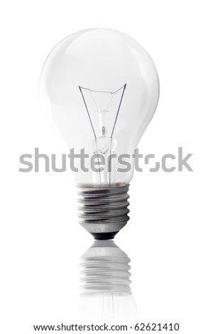 light bulb and reflection isolated on white background - stock photo