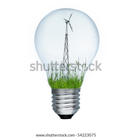 Light bulb and wind mill generator inside. Alternative energy concept. Image isolated on white