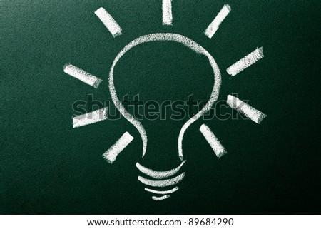Light bulb as idea concept on green blackboard