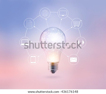 Light bulb circle global and icon customer network connection on pastel color background, Omni Channel
