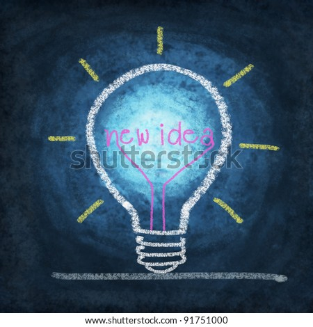 light bulb ,concept thinking new idea ,drawing by chalk