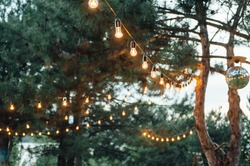 Light bulb decor in outdoor party, Wedding party