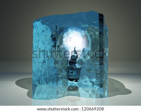 Light bulb frozen in ice