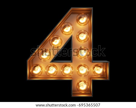 Light bulb glowing digit alphabet character 4 four font. Front view illuminated number 1 symbol on black background. 3d rendering illustration