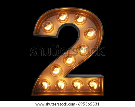 Light bulb glowing digit alphabet character 2 two font. Front view illuminated number 1 symbol on black background. 3d rendering illustration