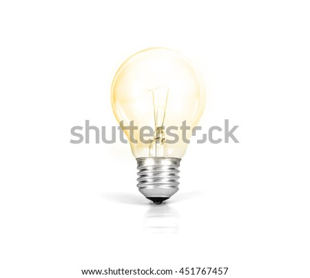 Light bulb glowing isolated on white background - Shutterstock ID 451767457