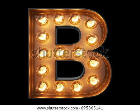 Shutterstock Light bulb glowing letter alphabet character B font. Front view illuminated capital symbol on black background. 3d rendering illustration