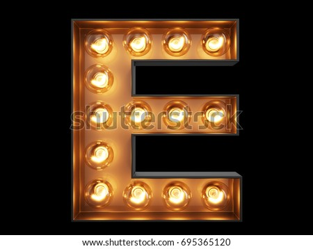 Light bulb glowing letter alphabet character E font. Front view illuminated capital symbol on black background. 3d rendering illustration