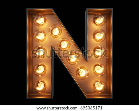 Light bulb glowing letter alphabet character N font. Front view illuminated capital symbol on black background. 3d rendering illustration