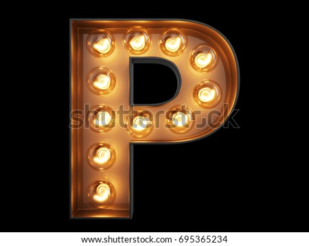 Light bulb glowing letter alphabet character P font. Front view illuminated capital symbol on black background. 3d rendering illustration