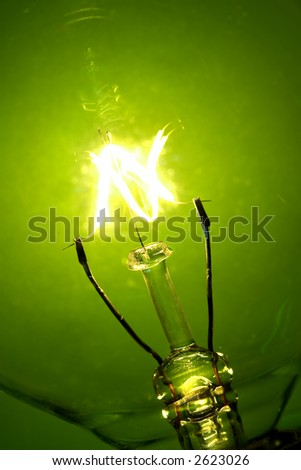 Light bulb glowing on a green background