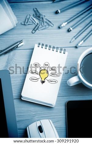 Light bulb graphic against notepad on desk