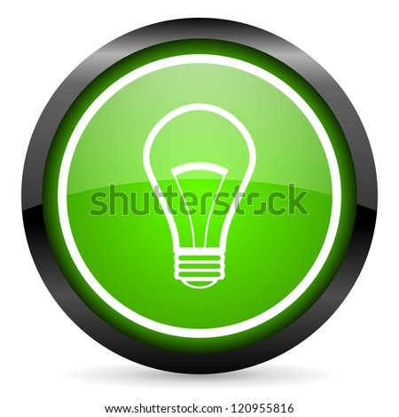 light bulb green glossy icon on white background