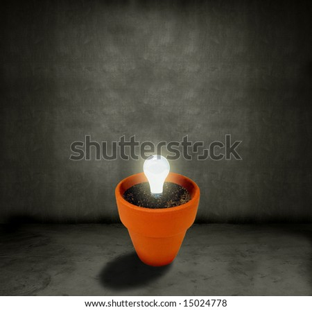 Light bulb growing out of a pot in a dark grungy room