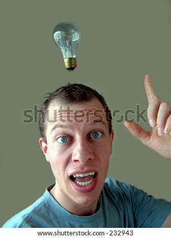 Light bulb hanging over man's head