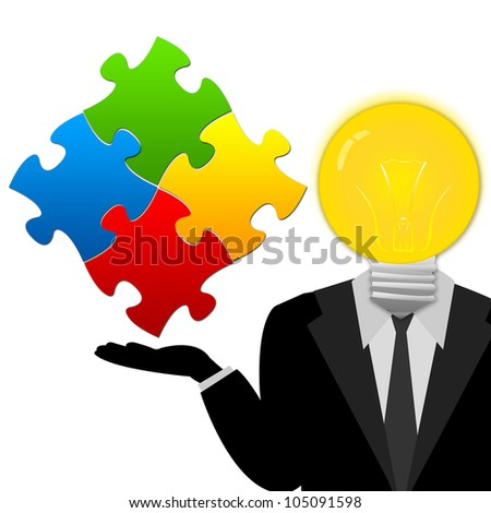 Light Bulb Head Businessman With Colorful Puzzle on His Hand Isolated on White Background