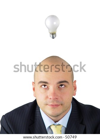 Light bulb hovering over business man's head