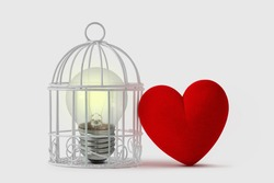 Light bulb in bird cage with free heart - Mind and heart concept